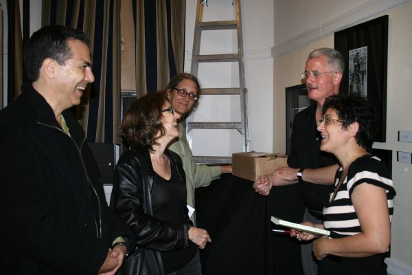 From left: Kenneth Swezey, Laura Lindgren, Malaga Baldi and Don Weise following a reading from Called Back in Manhattan.