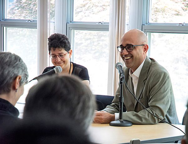 Mary Cappello and Ayad Akhtar in conversation. (Nora Lewis photograph)