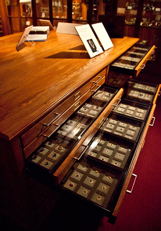 The refurbished cabinet of drawers containing the Chevalier Jackson Foreign Body Collection. (From the Collection of the Mütter Museum, The College of Physicians of Philadelphia)